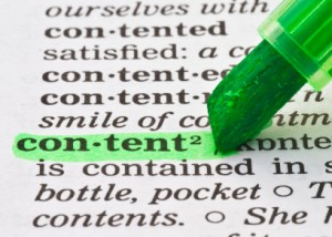 The word 'content' being highlighted in a dictionary