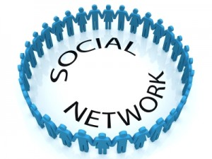 Circle of people around the words 'social network'