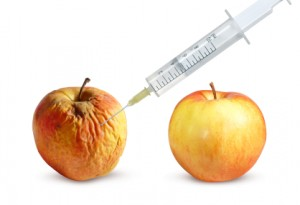 Wrinkled apple being injected next to a fresh-looking apple