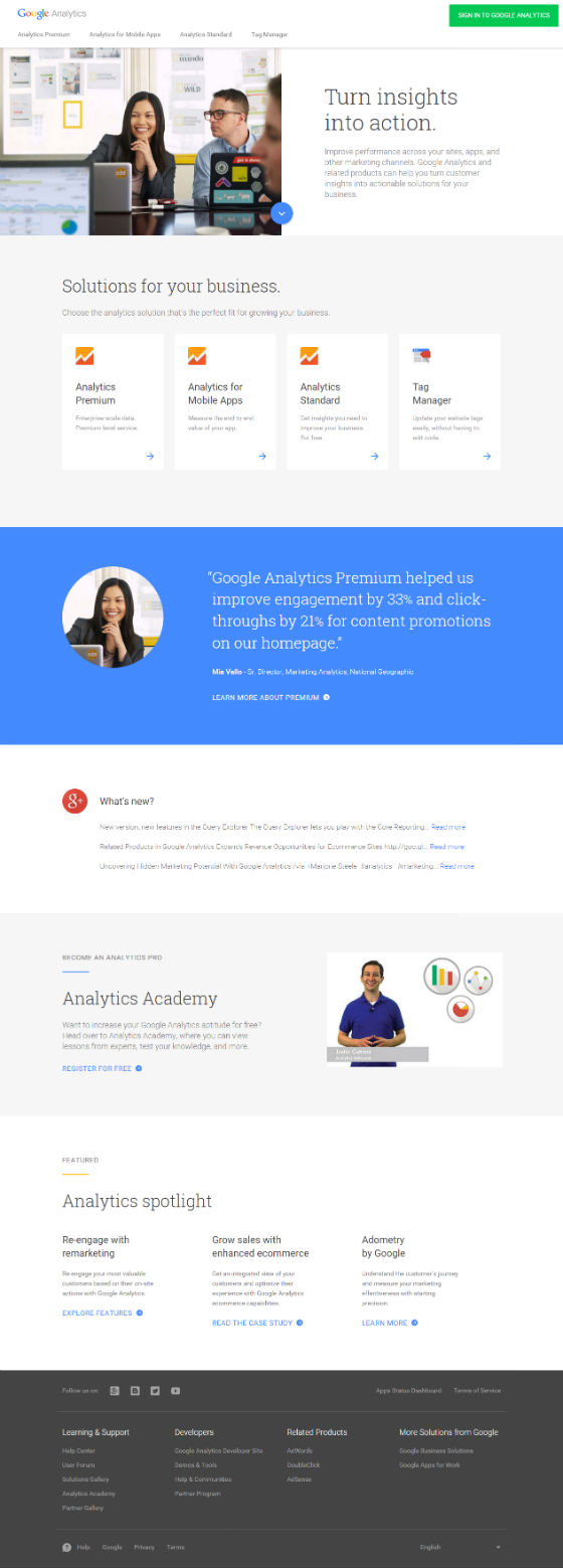 New Analytics homepage in full.