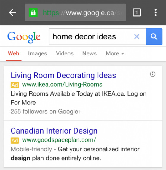 Mobile-friendly labels on PPC ads.