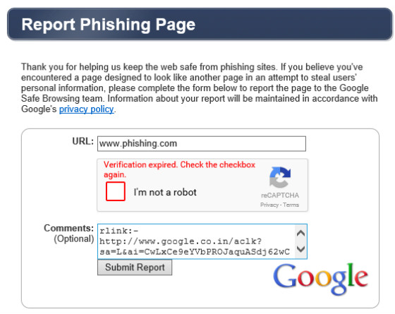 Google phishing report
