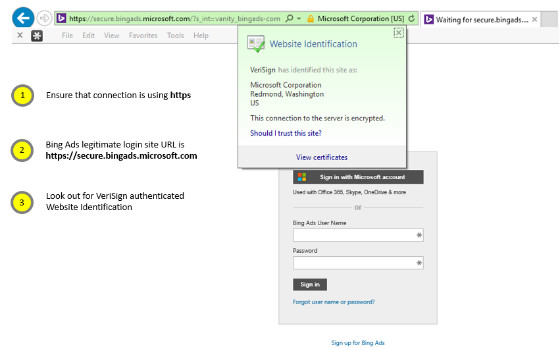 Bing's tips for phishing protection